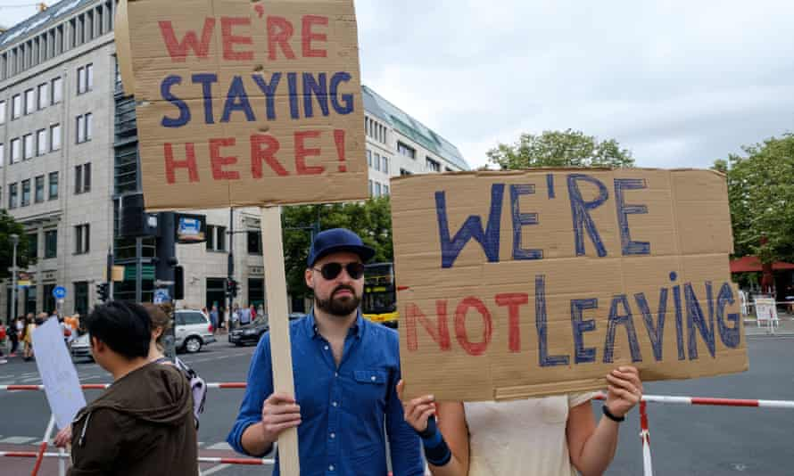 British immigrants to Germany protest against Brexit in Berlin.