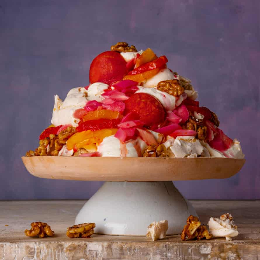 Walnut Meringue Tumble with Blood Orange and Lemon Curd by Jeremy Lee at Quo Vardis. The Observer Food Monthly 20 best egg recipes.