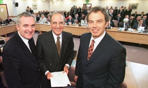 The signatories to the 1998 Good Friday agreement, from left, Ireland's Bertie Ahern, the US senator George Mitchell and Britain's Tony Blair.