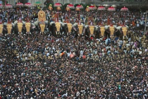 Crowds at Thrissur Pooram festival in Kerala, India