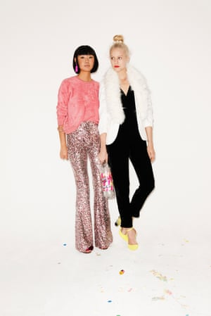 pink jumper Topshop, pink sequin flares French Connection, pom pom high heels beaded earrings Oscar de la Renta. Black velvet jumpsuit French Connection, yellow neon heels Asos, white blazer with fur around the collar River Island, bun holder Asos