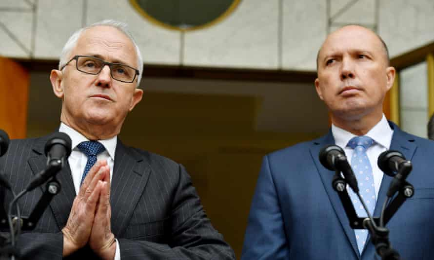 Prime Minister Malcolm Turnbull and Minister for Immigration Peter Dutton announce a new home affairs department at a press conference