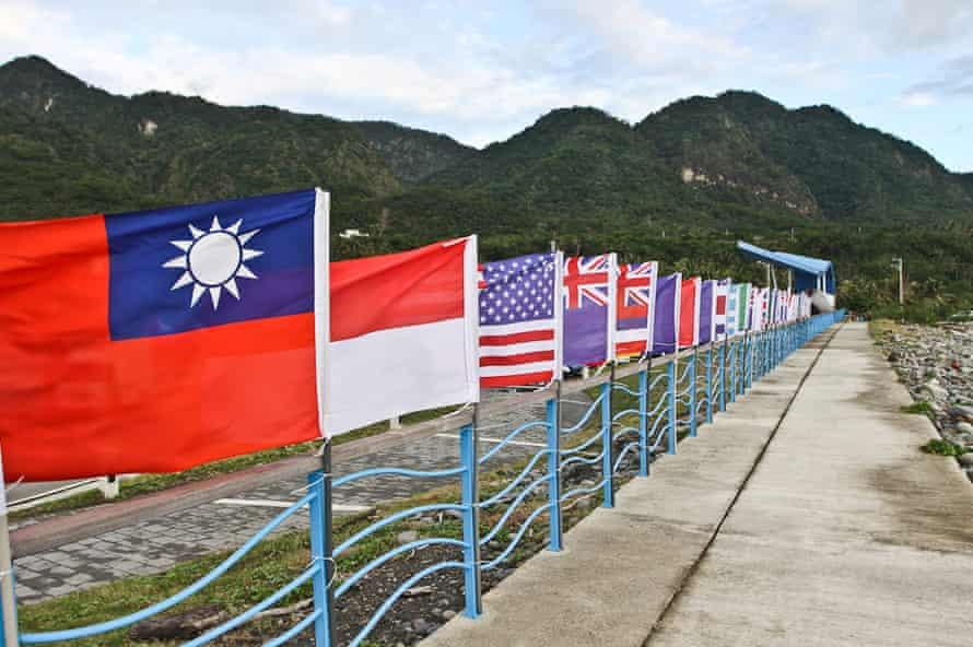 Flags fly near the surf contest in Taitun County, Taiwan.