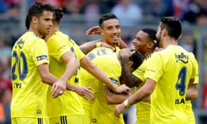 Fenerbache goalscorers Ozan Tufan, Nabil Dirar and Garry Rodrigues celebrate during their 5-3 defeat to Real Madrid in the Audi Cup third place play-off in July 2019.