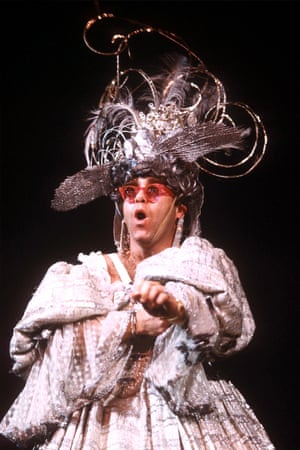 Elton John in a charity production of Mother Goose, 1984.