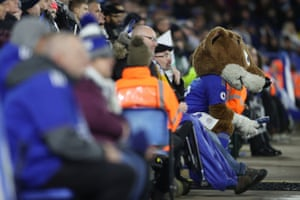 The Leicester City mascot, Filbert Fox, watches the action.