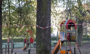 A children's playground and park are empty in the European Quarter