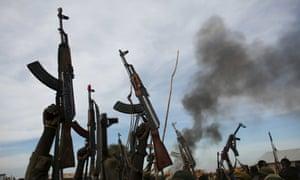 Rebel fighters in South Sudan.