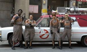 Scene from Ghostbusters showing Leslie Jones, Melissa McCarthy, Kristen Wiig and Kate McKinnon