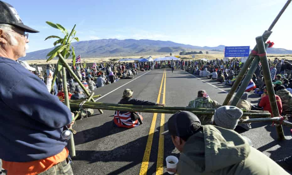 Hawaiian protesters continue their opposition to the construction of the Thirty Meter Telescope at Mauna Kea.