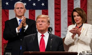 Donald Trump delivers the State of the Union address, alongside Vice-President Mike Pence and Speaker of the House Nancy Pelosi on Tuesday night.