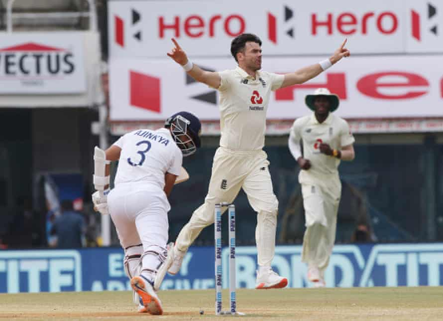 James Anderson celebrates after removing Ajinkya Rahane during day five.