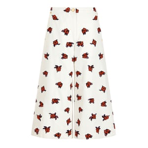 culottes with flower pattern, red black