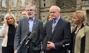 Health minister Michelle O'Neill, Sinn Féin leader Gerry Adams, deputy first minister Martin McGuinness and MEP Martina Anderson at Stormont Castle in Belfast, as Adams gives his reaction to the Brexit vote.