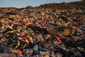 Lesbos, Greece: view of the so-called 'Lifejacket Graveyard', a landfill site filled with discarded apparatus used by migrants to get to the island