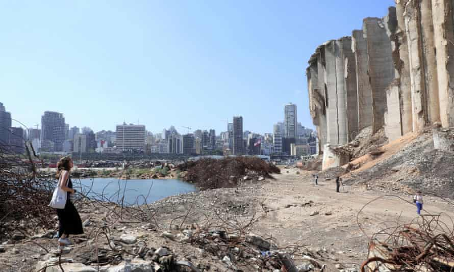 The site of last year's port blast in Beirut, where the stench of rats seeps up from piles of rotting grain.