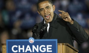 Barack Obama on the final day of his first US presidential campaign in 2008.