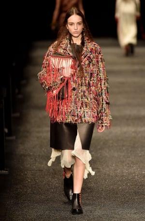 Model on the catwalk Alexander McQueen show, Runway, Autumn Winter 2017, Paris Fashion Week