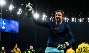 FBL-ENG-FA CUP-TOTTENHAM-NORWICH<br>Norwich City's Dutch goalkeeper Tim Krul celebrates with his teammates after winning the English FA Cup fifth round football match between Tottenham Hotspur and Norwich City at Tottenham Hotspur Stadium in London, on Match 4, 2020. (Photo by Glyn KIRK / AFP) / RESTRICTED TO EDITORIAL USE. No use with unauthorized audio, video, data, fixture lists, club/league logos or 'live' services. Online in-match use limited to 120 images. An additional 40 images may be used in extra time. No video emulation. Social media in-match use limited to 120 images. An additional 40 images may be used in extra time. No use in betting publications, games or single club/league/player publications. /  (Photo by GLYN KIRK/AFP via Getty Images)