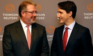 Thomson Reuters chief executive Jim Smith with Canada's prime minister Justin Trudeau.