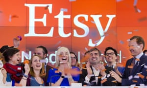 Kristina Salen, center left, Etsy''s CEO, stands with Chad Dickerson, center right, chairman and chief executive officer, to celebrate the company's IPO with employees and guests in April this year.