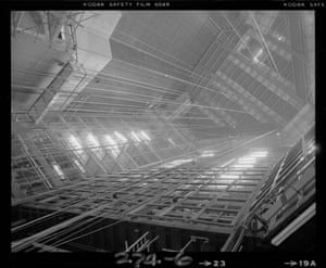 Looking up towards the top of the flytower from the Theatre stage (Nov 1979)