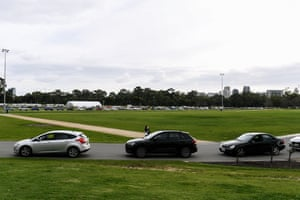 The COVID-19 drive-through testing at Victoria Park, which has a wait time of +6 hours in Adelaide, Wednesday, July 21, 2021.