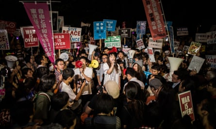 One of the nightly protests by members of Sealds outside the Japanese parliament.