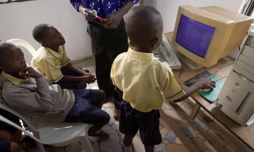 A computer lesson in Lagos. Nigeria