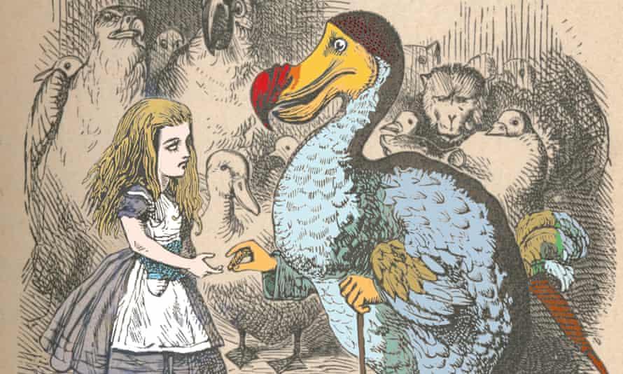 Alice and the Dodo in Alice in Wonderland, as illustrated by John Tenniel in 1889.