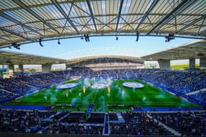 The Estadio do Dragao in Porto before the game. The final should have been played in Istanbul but was moved due to Covid restrictions.