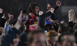 Bradley Dack of Blackburn Rovers celebrates with their fans after securing promotion back to the Championship.