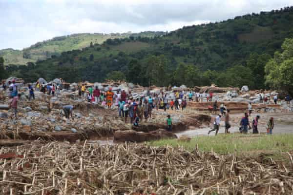 Villagers in Kopa, Chimanimani, search for missing relatives in the aftermath of Cyclone Idai