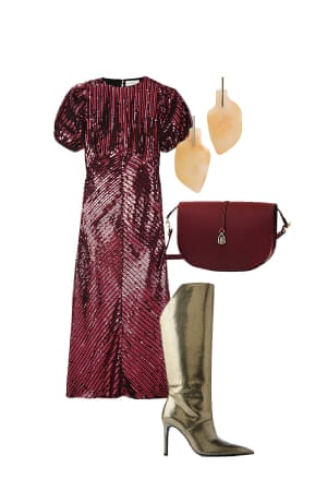 Harriet Green, Editor, Observer Magazine 'Choose a sequin dress for full- length sparkle.' Dress, £395, rixo.co.uk. Boots, £159, zara.com. Bag, £325, paradiserowlondon.com. Earrings, £7.99, mango.com