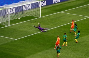 Vivianne Miedema, the Netherlands' record goalscorer at the age of 23, finds the net against Cameroon at the World Cup.