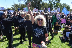 A protester dances during the March 4 Justice in Canberra.