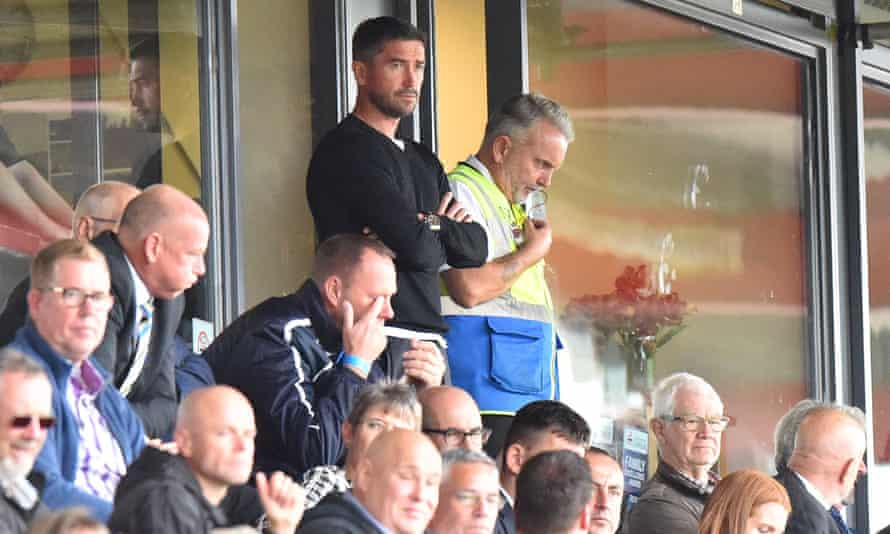 New manager Harry Kewell had to watch his Notts County team from the stands when sent off during their 5-1 loss at Exeter.