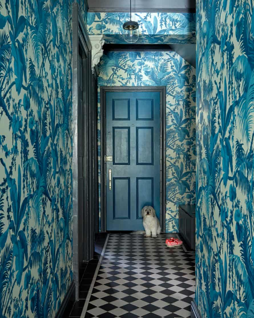 A dog in a hallway with blue patterned wallpaper and a black and white tiled floor.