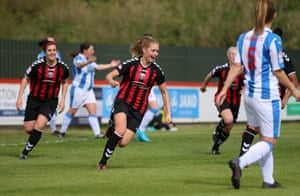 Lewes, celebrating here after scoring against Huddersfield, will be in the second tier.