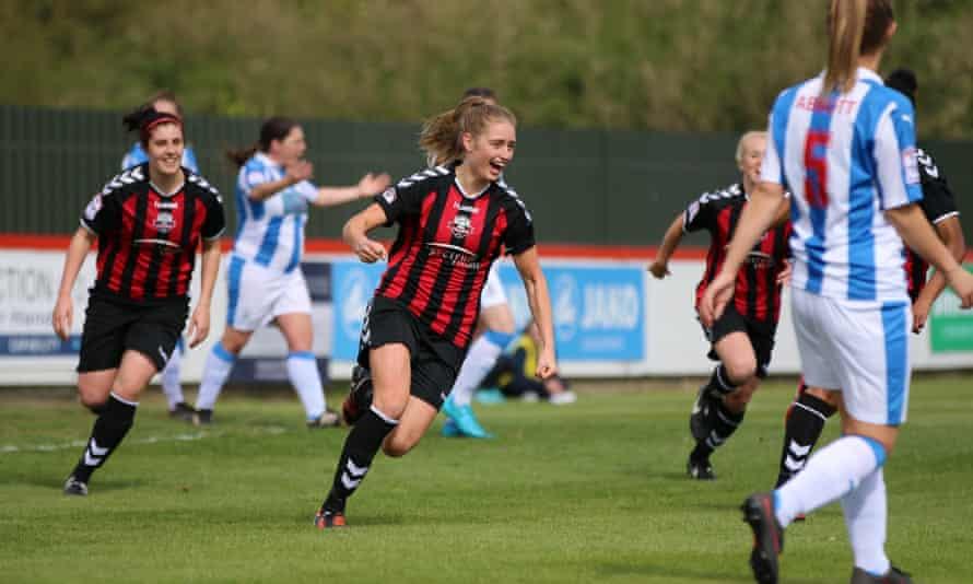 Lews FC's Georgia Bridges celebrates after scoring against Huddersfield Town