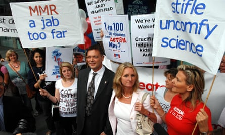Andrew Wakefield with supporters in London, 2007