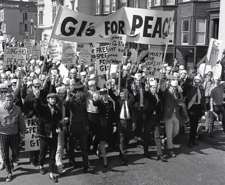 Susan Schnall leading the peace march in San Francisco 1968