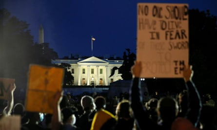 Crowds protest outside the White House following the death of George Floyd.