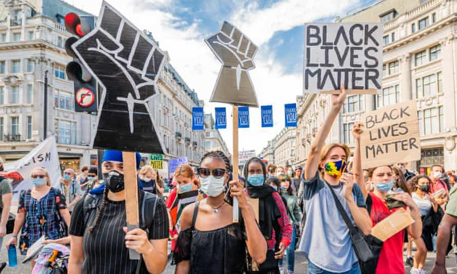 A Black Lives Matter protest in Oxford Circus, London, July 2020.