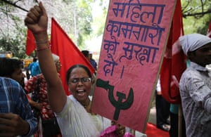 New Delhi, India. Members of the Delhi division of the federation of the trade unions' Delhi at a rally