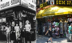 Composite of the rear cover of the New York Dolls 1973 album and the same sport in 2015 - Gem Spa, St Mark's Place New York