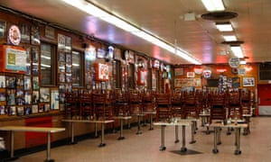 A nearly empty Katz's Deli restaurant on the Lower East Side of New York.
