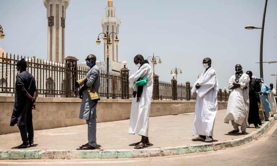 Muslim worshippers at the Mosque of the Mourides, in Dakar on May 15, 2020.
