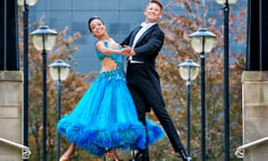 In step … Courtney-Mae Briggs and James Bennet in Strictly Ballroom at the West Yorkshire Playhouse