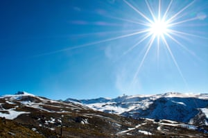 Granada, Spain. The Sierra Nevada ski resort has been using artificial snow cannons
